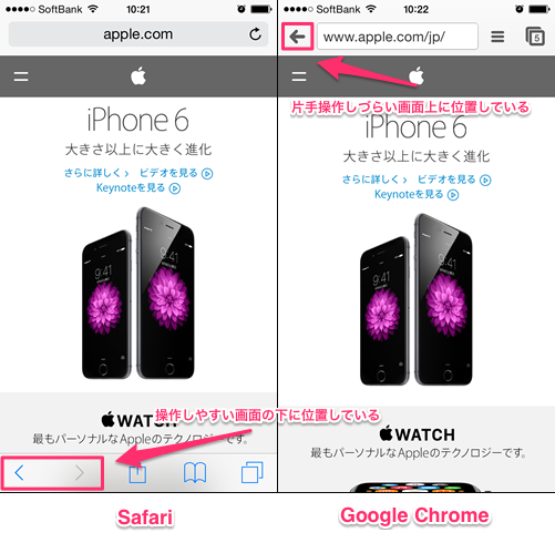 iOS Safari vs Google Chrome