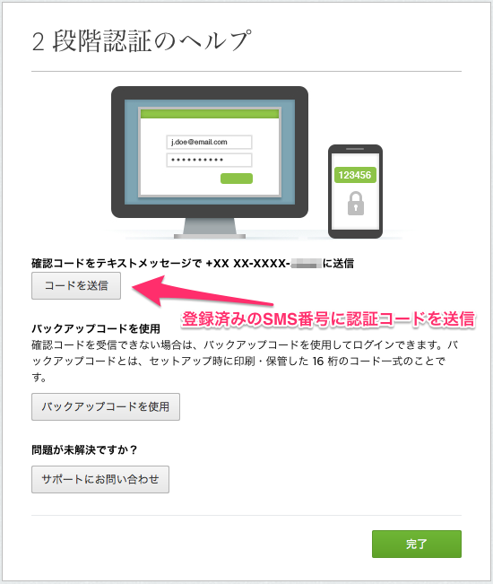 Evernote 2段認証SMS