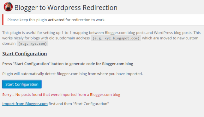 blogger to wordpress redirection error